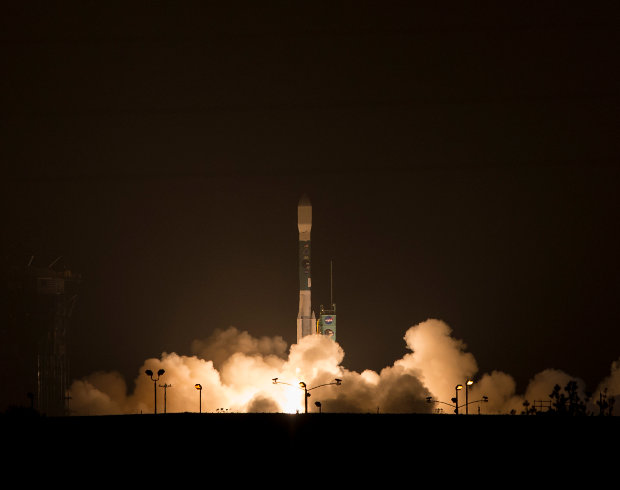 The SMAP satellite lifting off atop a Delta II rocket (Photo NASA/Bill Ingalls)