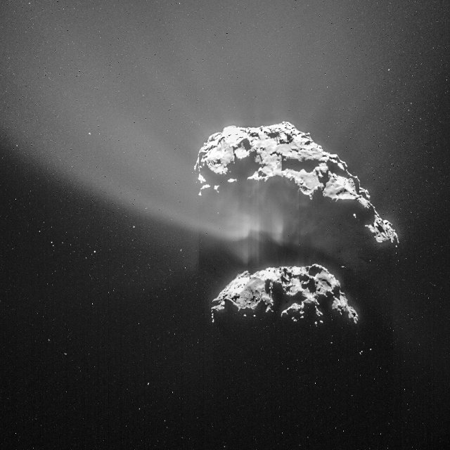 Photo of the comet 67P/Churyumov–Gerasimenko taken by the Rosetta space probe on February 9, 2015 during its approach (Image ESA/Rosetta/NAVCAM)