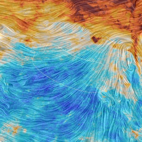 Planck view of BICEP2 field (Image ESA/Planck Collaboration. Acknowledgment: M.-A. Miville-Deschênes, CNRS – Institut d'Astrophysique Spatiale, Université Paris-XI, Orsay, France)