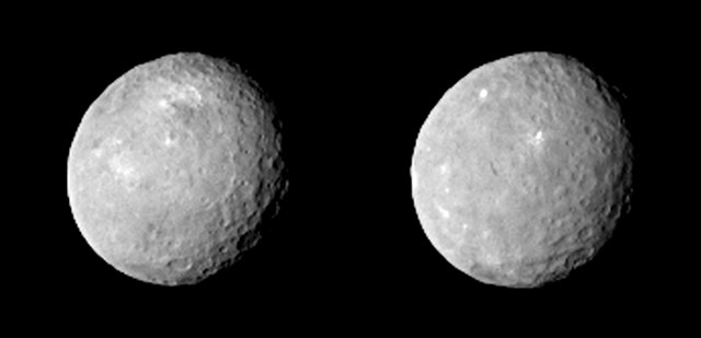 Two pictures of Ceres taken by NASA's space probe Dawn (Image NASA/JPL-Caltech/UCLA/MPS/DLR/IDA)