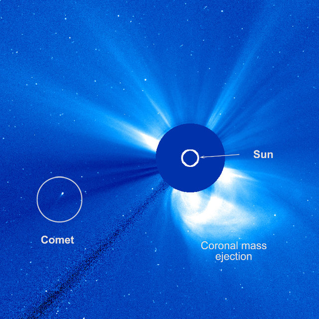 Image of the SOHO  space probe showing the comet C/2015 D1 (SOHO) near the Sun (Image ESA/NASA/SOHO/Hill)
