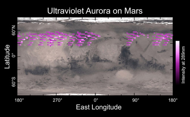 Map of the aurora detected by the MAVEN space probe overlaid on Mars' surface (Image University of Colorado)