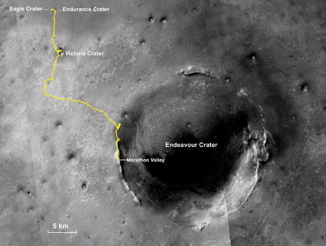 The Mars Rover Opportunity complete path on Mars (Image NASA/JPL-Caltech/MSSS/NMMNHS)
