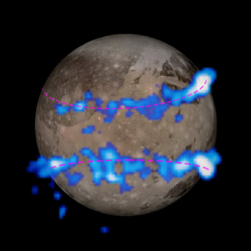 Hubble Space Telescope images of Ganymede's aurorae colored blue overlaid on a Galileo space probe image of the moon (Image NASA/ESA)