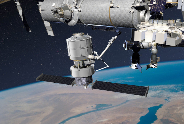 Artistic concept of the Jupiter space tug and the Exoliner cargo module with the service robotic arm near the International Space Station (Image courtesy Lockheed Martin. All rights reserved)