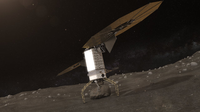 Artistic concept of a spacecraft capturing a boulder on an asteroid (Image NASA)