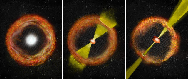 On the left, a common Supernova with no engine, on the right a Supernova with a strong engine that emits a gamma-ray burst, in the middle an intermediate case such as SN 2012ap (Image Bill Saxton, NRAO/AUI/NSF)