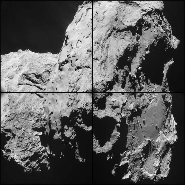 Four image montage of pictures of the comet 67P/Churyumov–Gerasimenko taken by the space probe Rosetta (Image ESA/Rosetta/NAVCAM)
