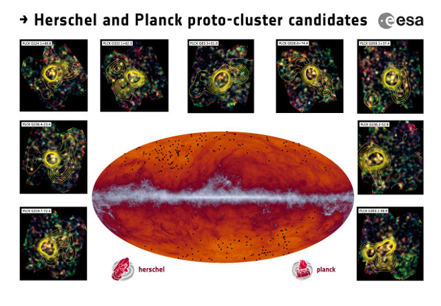 The Planck all-sky map at submillimetre wavelengths with the protoclusters indicated as black dots. The inset images showcase some of the observations made by Herschel's SPIRE instrument (Image ESA and the Planck Collaboration/ H. Dole, D. Guéry & G. Hurier, IAS/University Paris-Sud/CNRS/CNES)