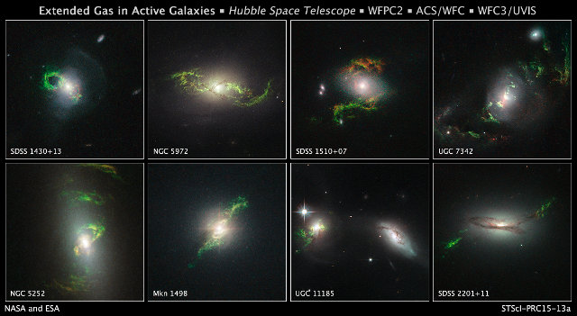 Images of eight galaxies containing green filaments that are the last effect of ancient quasars (Image NASA, ESA, and W. Keel (University of Alabama, Tuscaloosa))