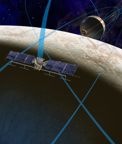 Artistic concept of the space probe that will study Europa and its trajectory in the Jupiter's system (Image NASA/JPL-Caltech)