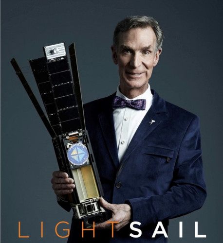 Bill Nye holding an open LightSail™ (Photo courtesy The Planetary Society. All rights reserved)