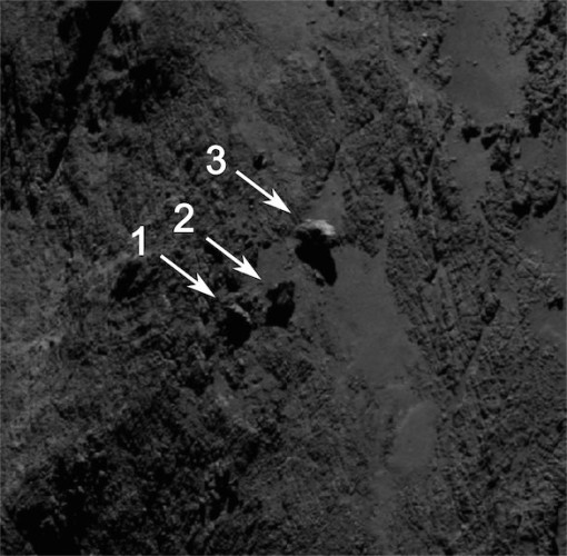 Photo of the balancing rocks taken by the Rosetta space probe's OSIRIS camera on September 16, 2014 (Image ESA/Rosetta/MPS for OSIRIS Team MPS/UPD/LAM/IAA/SSO/INTA/UPM/DASP/IDA)