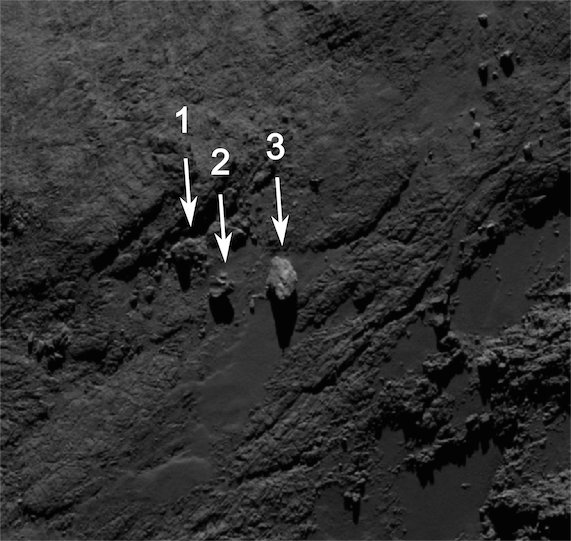 Photo of the balancing rocks taken by the Rosetta space probe's OSIRIS camera on September 19, 2014 (Image ESA/Rosetta/MPS for OSIRIS Team MPS/UPD/LAM/IAA/SSO/INTA/UPM/DASP/IDA)