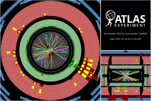 Proton collisions send showers of particles through the ATLAS detector (Image courtesy ATLAS/CERN. All rights reserved)
