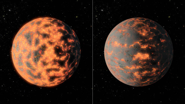 Artistic concept of the exoplanet 55 Cancri e that shows its partially molten surface before and after vocanic activity (Image NASA/JPL-Caltech/R. Hurt)