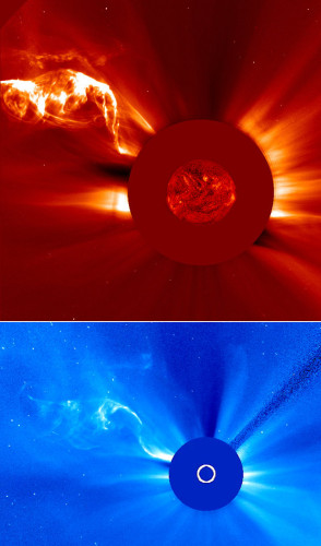 Images of the April 28-29, 2015 solar filament captured by the SOHO space probe's coronographs (Image ESA/NASA/SOHO)