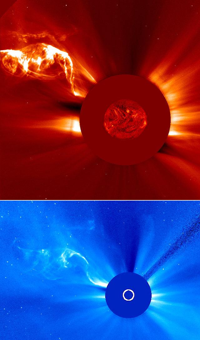 Images of the April 28-29, 2015 solar filament captured by the SOHO space probe's coronographs (Image ESA/NASA/SOHO)