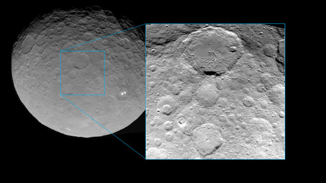 Image of the dwarf planet Ceres and one of a region of its surface in details (Image NASA/JPL-Caltech/UCLA/MPS/DLR/IDA)