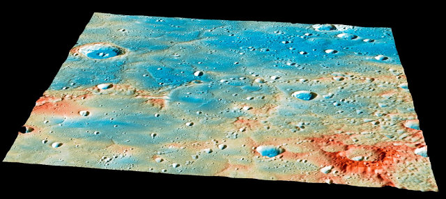 The region on the planet Mercury where the Messenger space probe crashed (Image NASA/Johns Hopkins University Applied Physics Laboratory/Carnegie Institution of Washington)