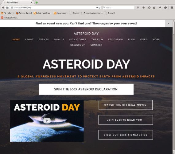 The Asteroid Day website's home page