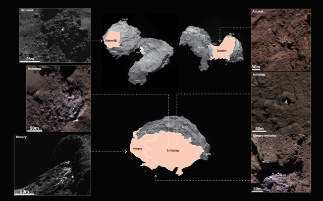 Six of the icy areas on the surface of the comet 67P/Churyumov-Gerasimenko found by the Rosetta space probe (Image ESA/Rosetta/MPS for OSIRIS Team MPS/UPD/LAM/IAA/SSO/INTA/UPM/DASP/IDA)