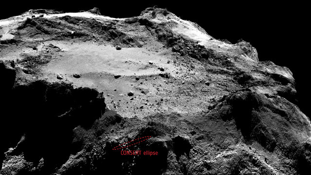 The area of the comet 67P/Churyumov-Gerasimenko where Philae landed (Ellipse: ESA/Rosetta/Philae/CONSERT; Image: ESA/Rosetta/MPS for OSIRIS Team MPS/UPD/LAM/IAA/SSO/INTA/UPM/DASP/IDA)