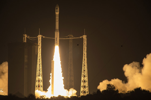 The Sentinel-2A satellite blasting off atop a Vega rocket (Photo ESA–M. Pedoussaut)