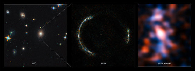 Pictures of the galaxy SDP.81. On the left a picture taken by the Hubble Space Telescope. In the middle, the galaxy as an Einsetin ring and on the left as it's seen after being processed to eliminate the gravitational lensing distorsion (Image ALMA (NRAO/ESO/NAOJ)/Y. Tamura (The University of Tokyo)/Mark Swinbank (Durham University))