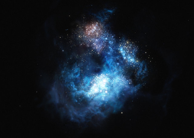 Artistic impression of the galaxy CR7 (Image ESO/M. Kornmesser)