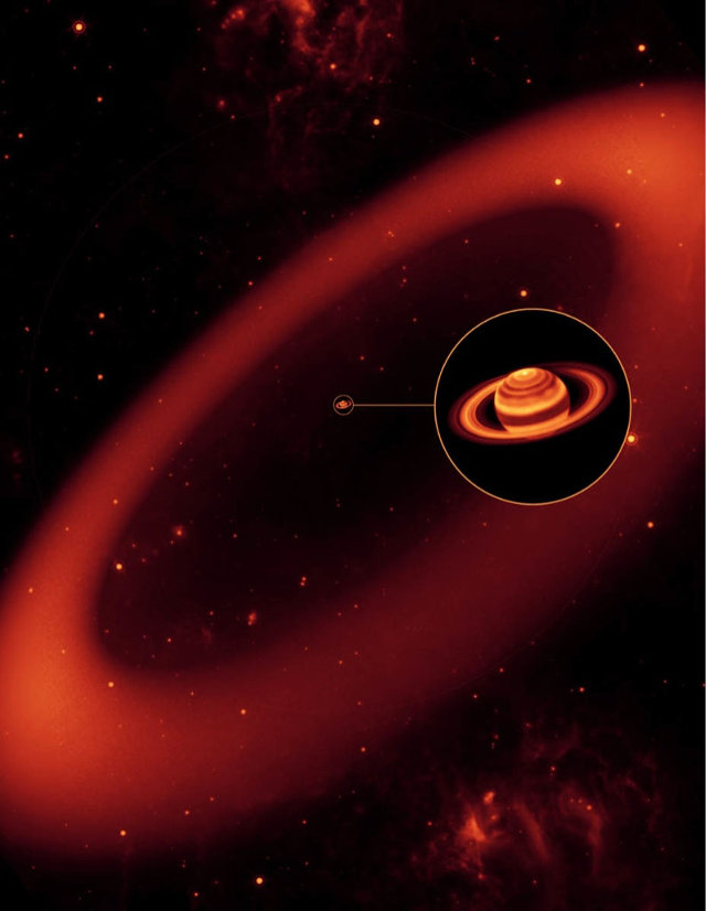 Artistic concept of the Phoebe ring with Saturn and the other rings in the middle (Image  Credit: NASA/JPL/Space Science Institute)
