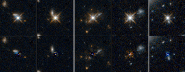 Galaxies containing quasars observed using the Hubble Space Telescope: in the top row the quasars are visible, in the bottom row the quasars' light is subtracted (Image NASA/ESA)