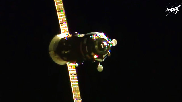 The Russian cargo spacecraft Progress M-28M during its approach to the International Space Station (Image NASA TV)