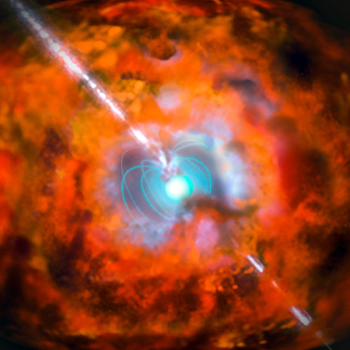 This artist's impression shows a supernova and associated gamma-ray burst driven by a magnetar (Image ESO)