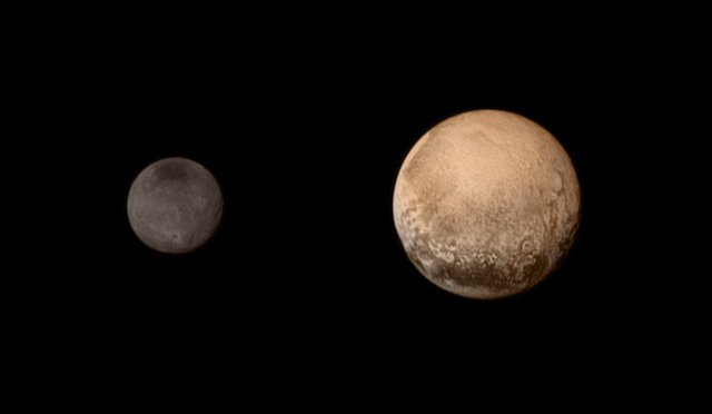 Pluto and Charon photographed by the New Horizon space probe on July 11, 2015 (Photo NASA-JHUAPL-SWRI)
