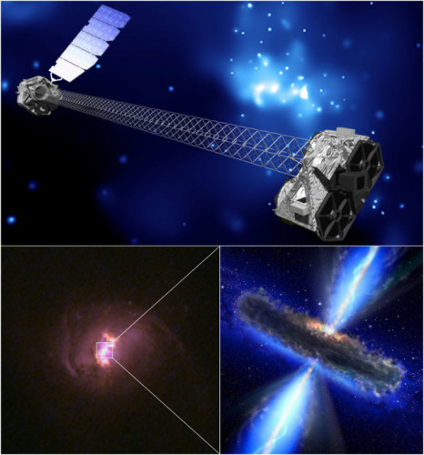 Top, artistic representation of the NuSTAR space telescope (NASA/JPL-Caltech). Bottom left, one of the galaxies observed with the NuSTAR space telescope (Hubble Legacy Archive, NASA, ESA). Bottom right, artistic concept of a supermassive black hole hidden by dust and gas in its host galaxy (NASA/ESA)