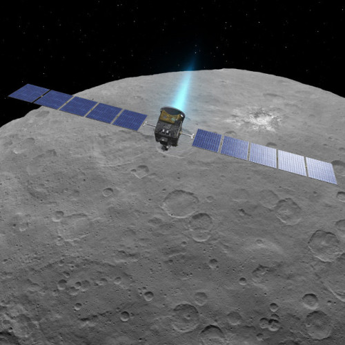 Artistic representation of the Dawn space probe over the dwarf planet Ceres (Image NASA/JPL-Caltech/UCLA/MPS/DLR/IDA)