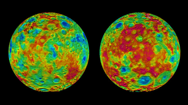 Topographic map of the dwarf planet Ceres (Image NASA/JPL-Caltech/UCLA/MPS/DLR/IDA)