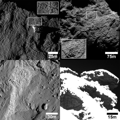 Examples of the fractures detected on the surface of the comet 67P/Churyumov-Gerasimenko (Image ESA/Rosetta/MPS for OSIRIS Team MPS/UPD/LAM/IAA/SSO/INTA/UPM/DASP/IDA)