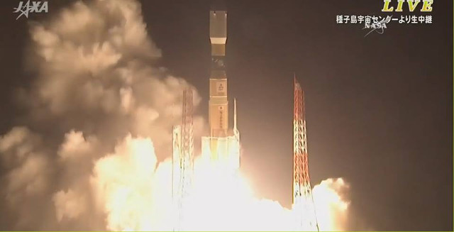 The HTV-5 Kounotori space cargo ship blasting off atop an H-II rocket (Image NASA TV)