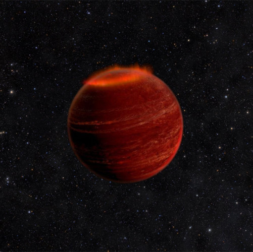 Artistic concept of an aurora at the north pole of a brown dwarf (Image Chuck Carter and Gregg Hallinan/Caltech)