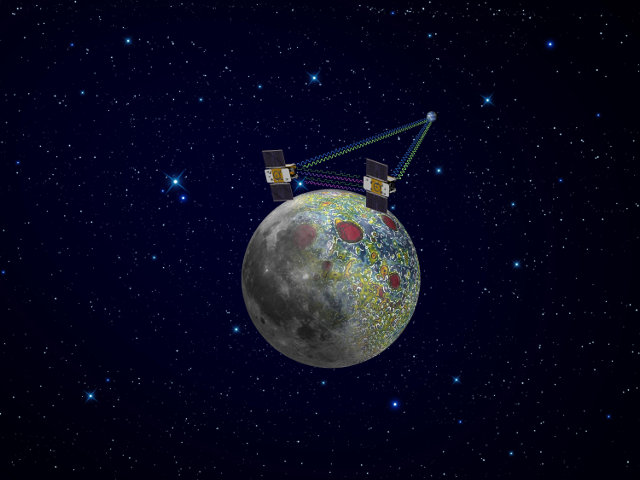 Artistic concept of NASA's GRAIL space probes during their mission in Moon's orbit (Image NASA/JPL-Caltech)
