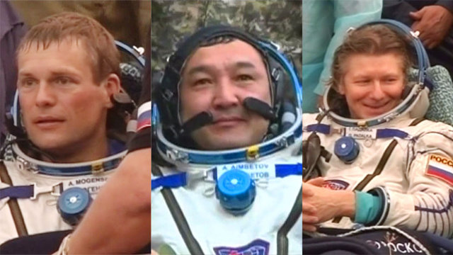 Andreas Mogensen, Aidyn Aimbetov and Gennady Padalka assisted after their landing with the Soyuz TMA-16M spacecraft (Image NASA TV)