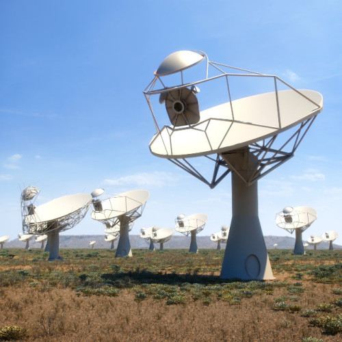 Artists rendition of the SKA-mid dishes that shows how these 15m wide dish telescopes may eventually look when completed (Image courtesy SKA Organisation)