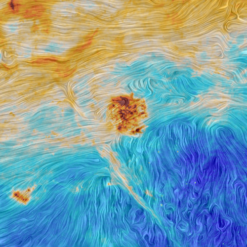 The Magellanic Clouds and an interstellar filament seen by the Planck Surveyor satellite (Image ESA and the Planck Collaboration)