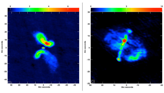 "At left is the galaxy J0702+5002, which the researchers concluded is not an X-shaped galaxy whose form is caused by a merger. At right is the galaxy J1043+3131, which is a ""true"" candidate for a merged system (Image Roberts, et al., NRAO/AUI/NSF)"