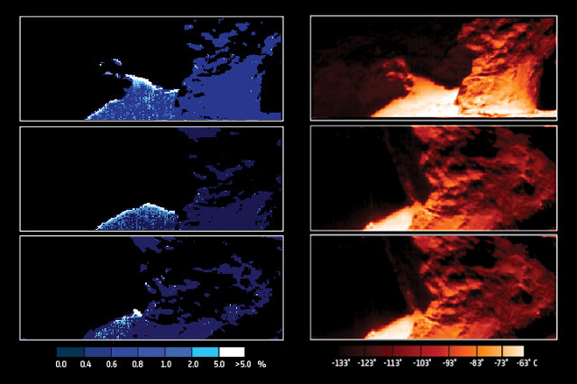 Maps of water ice abundance (left) and surface temperature (right) focusing on the Hapi 'neck' region of Comet 67P/Churyumov–Gerasimenko (Image ESA/Rosetta/VIRTIS/INAF-IAPS/OBS DE PARIS-LESIA/DLR; M.C. De Sanctis et al (2015))