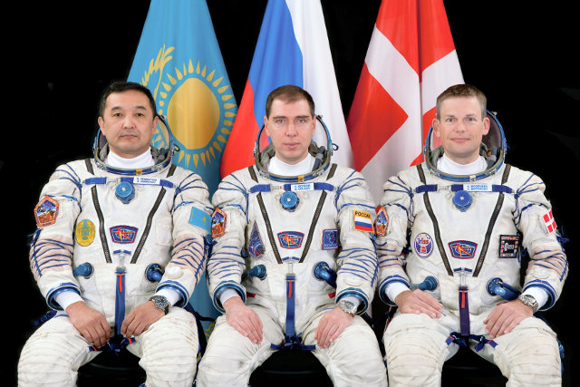 Aidyn Aimbetov, Sergey Volkov and Andreas Mogensen (Photo NASA)