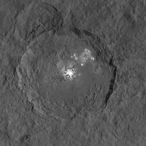 Occator crater and the white spots on the dwarf planet Ceres (Image NASA/JPL-Caltech/UCLA/MPS)