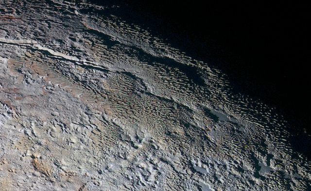 The snakeskin area called Tartarus Dorsa on Pluto's surface (Image NASA/JHUAPL/SWRI)